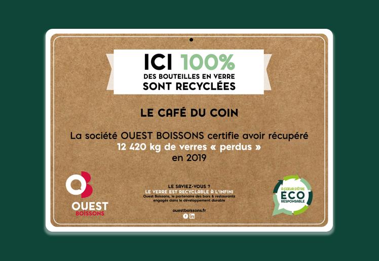 Certificat verres recyclés